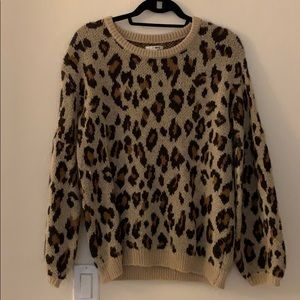 Amuse society balloon sleeve leopard sweater
